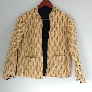 Reversible butterscotch yellow button down long sleeve leaf print jacket size M